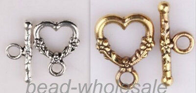 20sets Anituque Style Heart Shaped Ring Hook Clasp Findings For DIY Bracelet