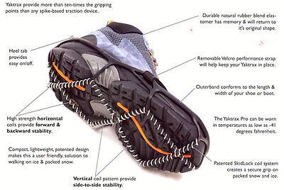 Yaktrax Pro Snow Ice Walking Running Walker Shoe Chain Safety Safety Slip Grips