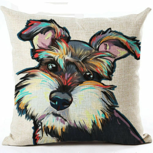 UK CHIHUAHUA DOG Pup LINEN COTTON Pop Art Painting Printed New CUSHION COVER