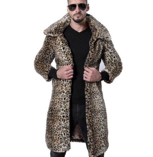 Homme Pardessus mi long manteau de fourrure col en fourrure Manteau Hiver Chaud Cardigan Revers Taille