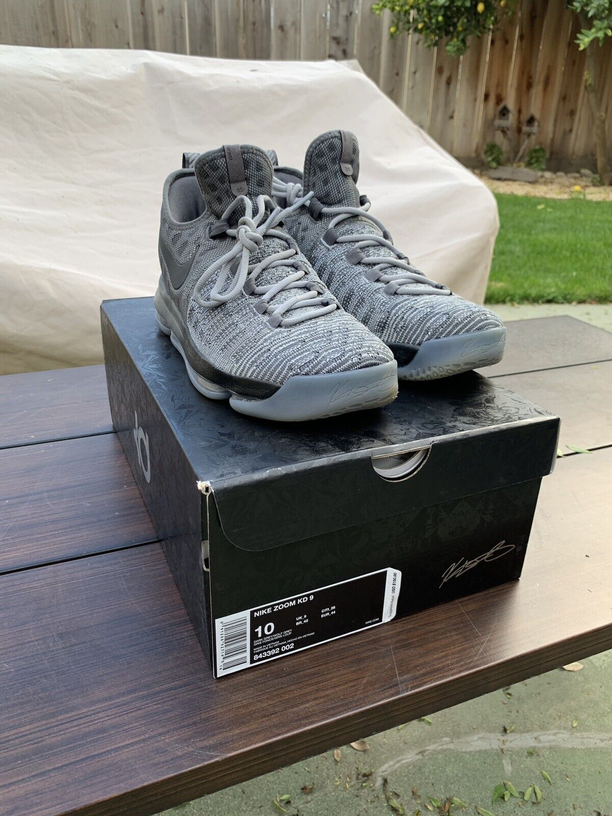 Nike Zoom KD 9 Battle Grey Size 10, Great Condition