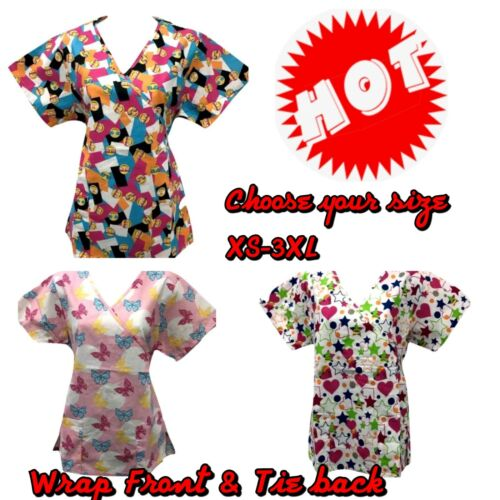 Butterfly,/& Star Heart sizes XS-3XL New Women/'s Fashion print scrub top Emoji
