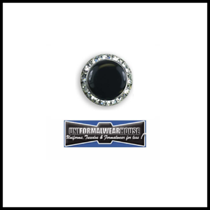 BLACK BUTTON COVER Classic CRYSTAL Trimmed Collar Enhancer