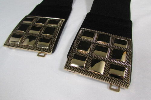 "New Women Black Elastic Fashion Belt Hip Waist Gold Squares Buckle S M 26/""-35/"""
