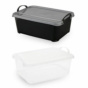 Underbed Plastic Storage Boxes With Lids Carry Handles Stackable