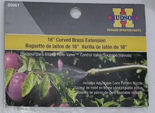 """Hudson 69967 18/"""" Curved Brass Extension Includes Adjustable Cone Pattern Nozzle"""