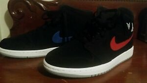 acheter pas cher 324d4 b3b17 Details about Nike Air Jordan 1 Mid Black/University Red Noir/Universite  Rouge Men 10.5