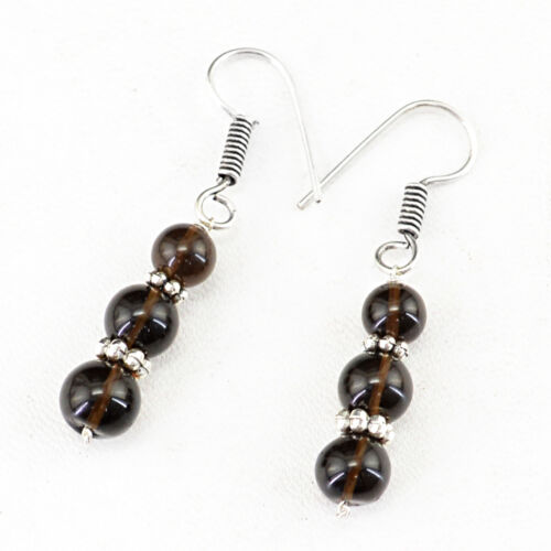 BEAUTIFUL 5.94 GMS NATURAL .925 SILVER PLATED SMOKY QUARTZ ROUND BEADS EARRINGS