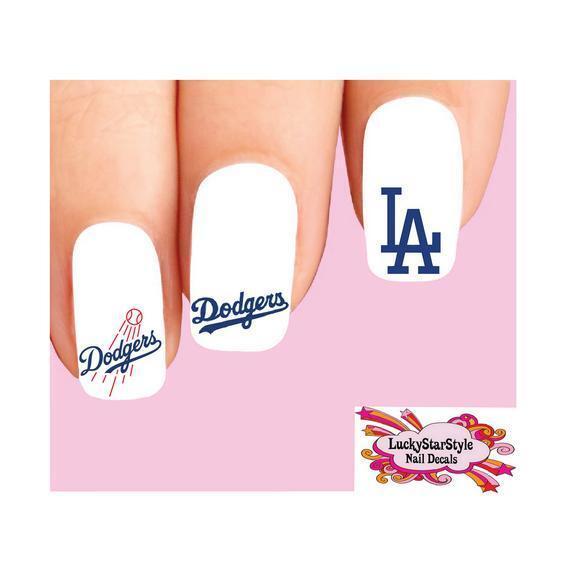 Waterslide Nail Decals Set of 20 - Los Angeles Dodgers Baseball ...