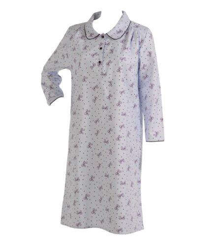 Ladies Soft Winceyette Brushed Cotton Nightie Slenderella Bow /& Spots Nightdress