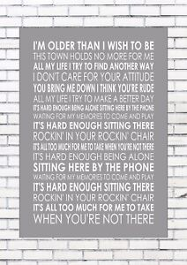 OASIS Word Typography Words Song Lyric Lyrics Music Wall ROCKING CHAIR