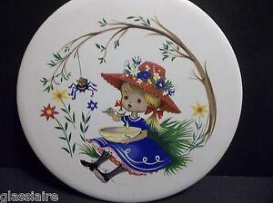 "Vintage English Tile NURSERY RHYME Little Miss Muffet 6"""