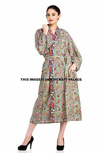 Indian-Cotton-Long-Dressing-Gown-Floral-Print-Kimono-Hippie-Bath-Robe-Sleepwear