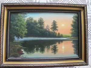 Vecchia collages, telaio in legno, 55 x 40 cm sera umore, proviene dalla Bielorussia