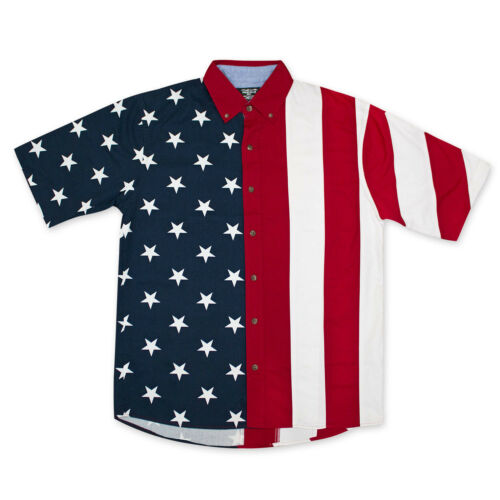 American Flag USA Button Up Dress Shirt Red