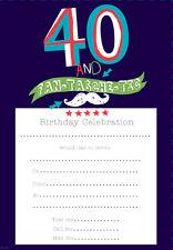 40th Birthday Invites - Pack of 20 Simon Elvin - 40 & FAN-TASHE-TIC Male. HP164P
