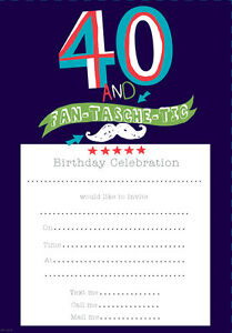 Image Is Loading 40th Birthday Invites Pack Of 20 Simon Elvin