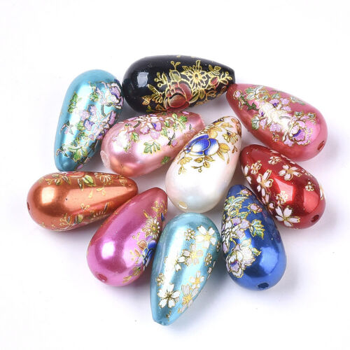 20pcs Colorful Printed Opaque Resin Teardrop Beads Smooth Loose Spacer 22x11.5mm