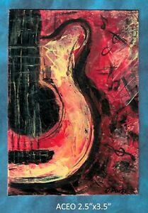 Original-ACEO-Guitar-miniature-acrylic-painting-not-framed