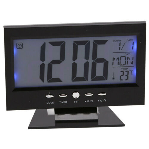 LCD Digital Alarm Clock Snooze Calendar Thermometer Weather Battery Bedside Gift