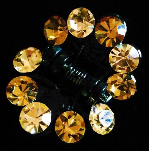 USA QUALITY Acrylic Hair Claw Clip use Swarovski Crystal Hairpin Brown Gold