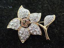 Vintage Swarovski Swan Signed Clear and Amber Center Colored Crystal Flower