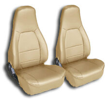 MAZDA MIATA 1990-2000 BEIGE IGGEE S.LEATHER CUSTOM FIT FRONT SEAT COVERS