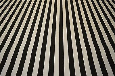 BEETLE JUICE BLACK & WHITE 1 INCH STRIPE STRETCH COTTON TWILL FABRIC PER METRE