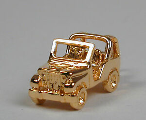 Gold-Plated-Sterling-Silver-JEEP-Wrangler-Charm-Free-U-S-Shipping
