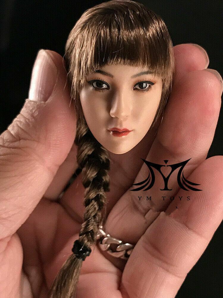 YMTOYS 1 6 Asia Beauty Beauty Beauty Head Sculpt Carving Model Single Braid fit 12  Figure Toy cd073e