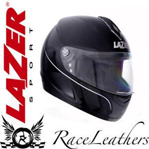Lazer-Vertigo-LX-RESISTENTE-negro-brillante-COMPLETO-Casco-de-Motocicleta