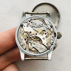 Seltene-Schweizer-Chronograph-3-Knoepfe-Vintage-Maenner-vergoldet-Handgelenk-Reparatur-Teile