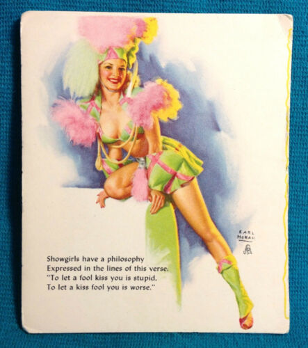 1940s Pinup Girl Earl Moran Blotter Card Showgirl Philosophy Kiss Fool Club Art