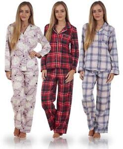 Ladies Pure Cotton Flannel Button Front Pyjama Set PJ S Winceyette ... 456d79aad