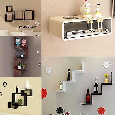 Modern Floating Wall Shelf Book Rack Display Storage Furniture Set 6 Types New