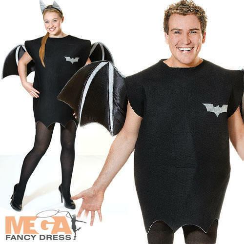 Bat Adults Fancy Dress Spooky Scary Animal Mens Ladies Halloween Costume Outfit