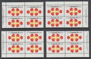 Canada Uni 541 MNH. 1971 15c Radio Canada, Matched Corner Blocks, Untagged