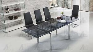 Smoked Glass Top Extendable Dining Table Chrome Legs American Eagle
