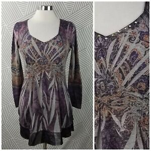 One World Size Small Shirt TunicTop pullover Boho Peasant Bling gem Romantic