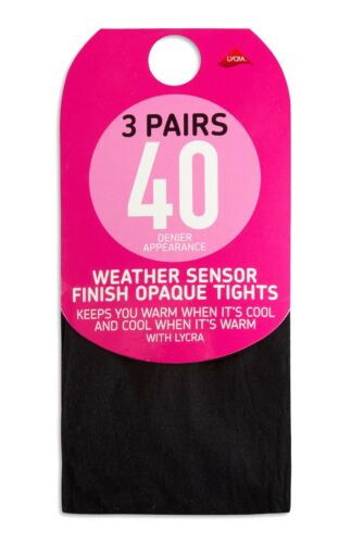 Black 3 Pairs 40// 60// 80// 100 Denier Appearance Opaque tights Womens Primark