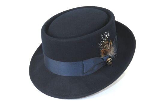 Mens Bruno Capelo Dress Hat Australian Wool Crushable Pork Pie Jazz Navy Blue