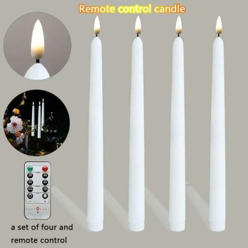 Battery Operated w//Remote White 4 pack LED Flameless Flickering Tapered Candles