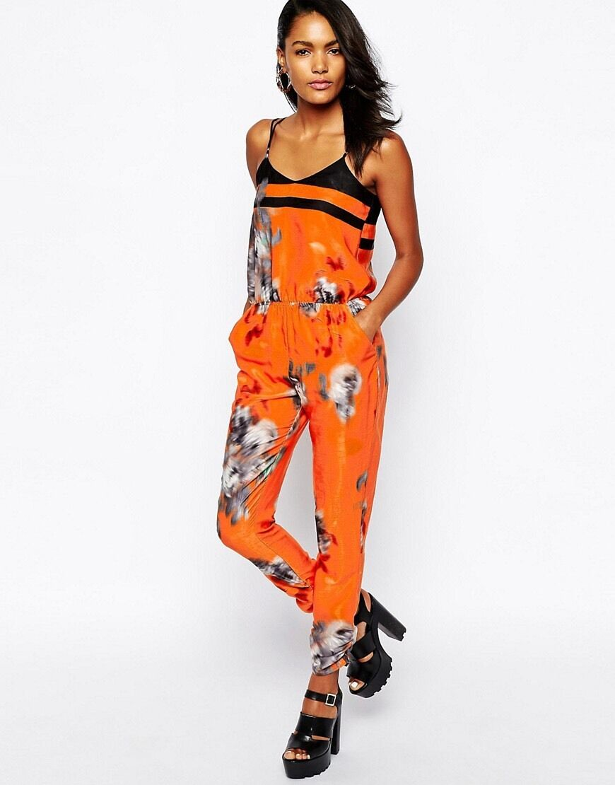 BNWT River Island orange Carri Printed Evening Occasion Jumpsuit Size 12 NEW