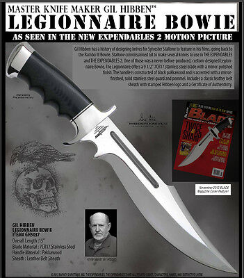 Gil Hibben - Expendables Legionnaire Bowie Knife BIG mirror polished blade