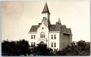 Vintage-RPPC-Real-Photo-Postcard-Church-Building-Bird-039-s-Eye-View-c1910s-Unused