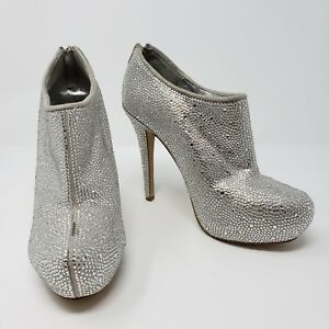 2163ef07958 Details about Steve Madden Sparrkk Silver Rhinestone Booties Ankle Boots  Heels Womens Size 7.5