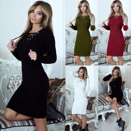 Women Lace Up V Neck Ribbed Bodycon Short Mini Jumper Sweater Dress Pencil Dress