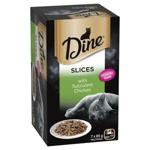Dine Slices With Chicken Wet Cat Food 85g Tray 7pk