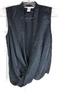 DIANE-VON-FURSTENBERG-womens-size-2-navy-blue-100-silk-wrap-sleeveless-blouse