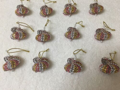12 HANDMADE CHRISTMAS ORNAMENTS MADE WITH BLING RED GOLD AND SILVER